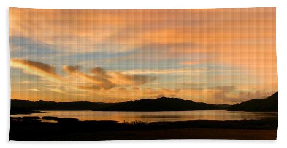 Water Bath Sheet featuring the photograph Lake Casitas Sunrise by Henrik Lehnerer
