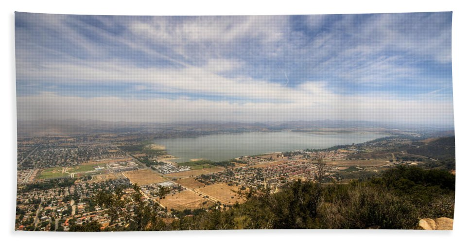 Lake Elsinore Bath Sheet featuring the photograph Lake Elsinore 1 by Jessica Velasco