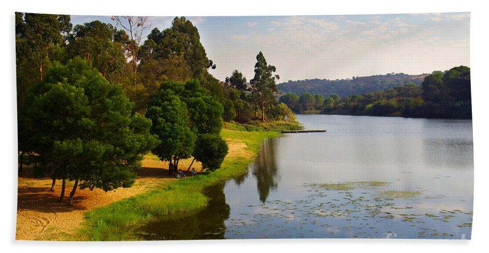 Alentejo Hand Towel featuring the photograph Lake Landscape by Carlos Caetano