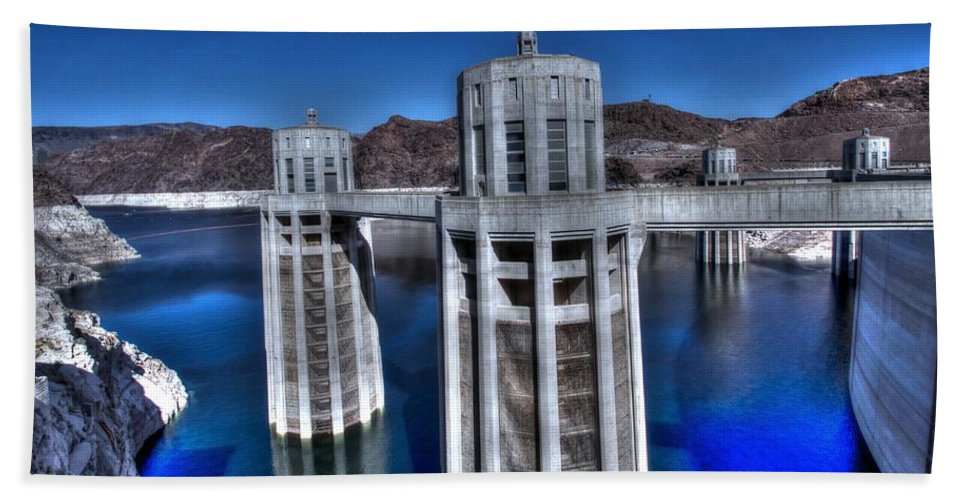 Lake Mead Bath Sheet featuring the photograph Lake Mead Hoover Dam by Jonathan Davison