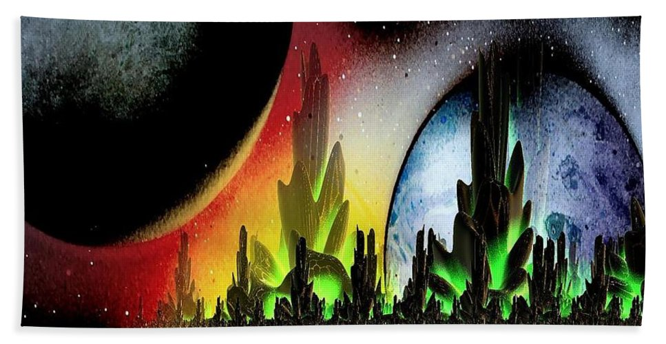 Venus Bath Sheet featuring the mixed media Lake Venus by Greg Moores