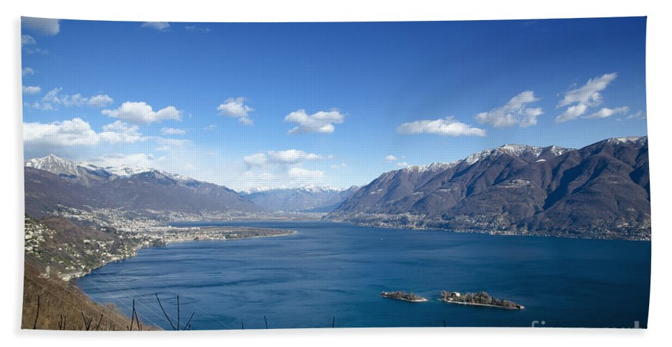 Island Bath Towel featuring the photograph Lake With Islands And Snow-capped Mountain by Mats Silvan
