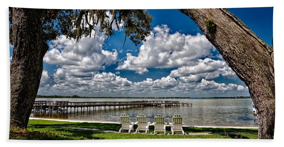 Chairs Hand Towel featuring the photograph Lakeside View by Christopher Holmes