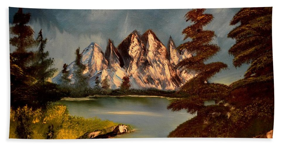 Mountains Bath Sheet featuring the painting Lakeview by Maria Urso