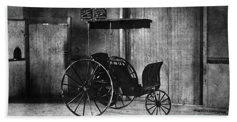 1891 Bath Sheet featuring the photograph Lambert Automobile 1891 by Granger