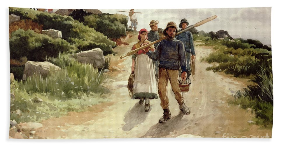 C19th; C20th; Genre; Newlyn School; Victorian; Fishermen; Peasant; Morning; Going To Work; Rural Fishing Community; Cornish Coast; Coastal Hand Towel featuring the painting Lamorna Cove Cornwall by Walter Langley