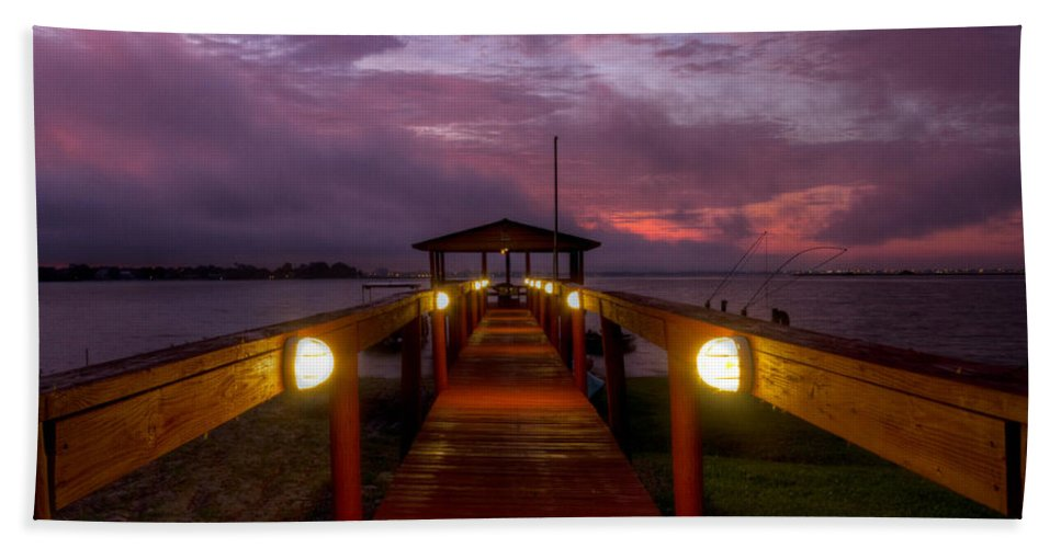 Clouds Hand Towel featuring the photograph Landing Lights by Debra and Dave Vanderlaan