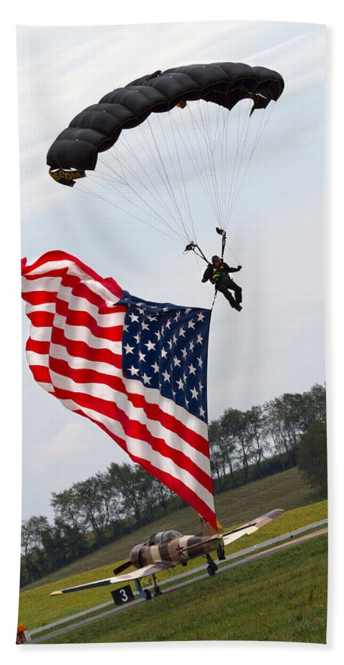 Parachute Bath Sheet featuring the photograph Landing Loyalty by Betsy Knapp