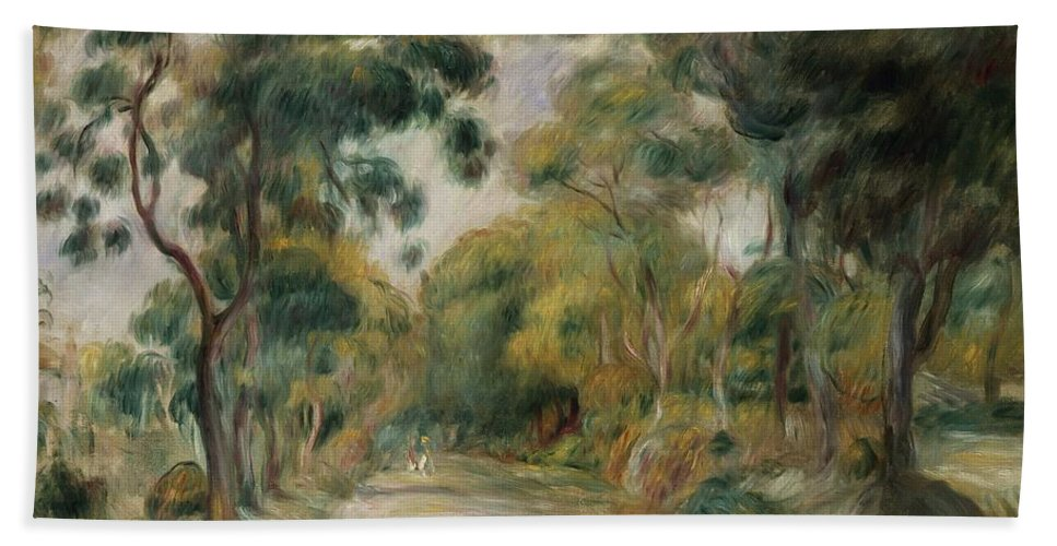 Landscape At Noon Bath Sheet featuring the painting Landscape At Noon by Pierre Auguste Renoir