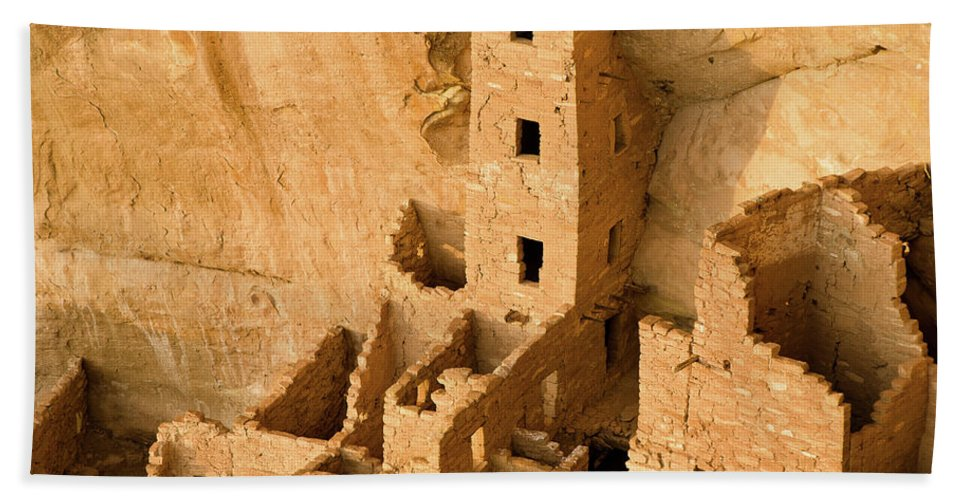 Mesa Verde Bath Sheet featuring the photograph Landscape View Of Square Tower by Greg Nyquist