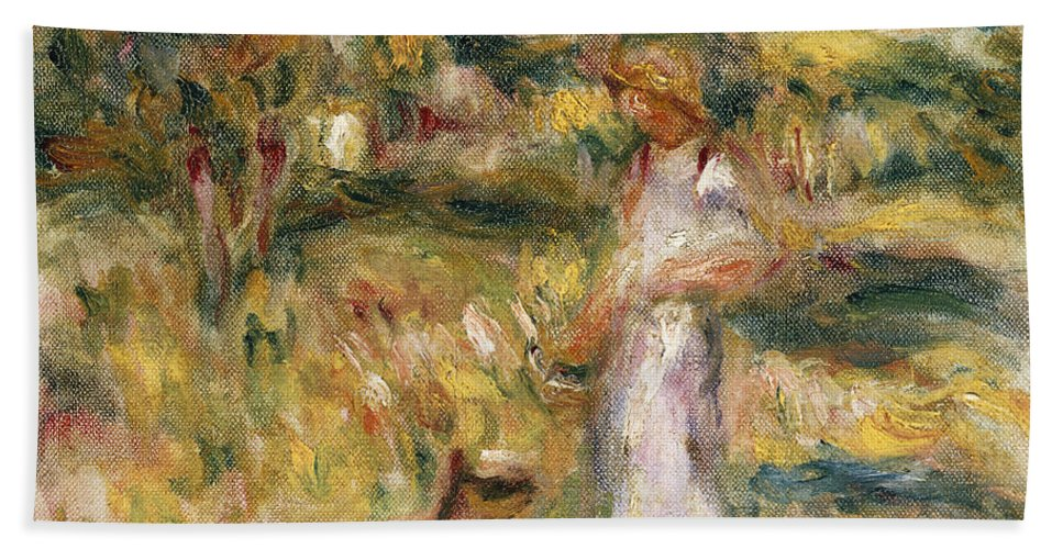 Pierre Auguste Renoir Bath Sheet featuring the painting Landscape With A Woman In Blue by Pierre Auguste Renoir