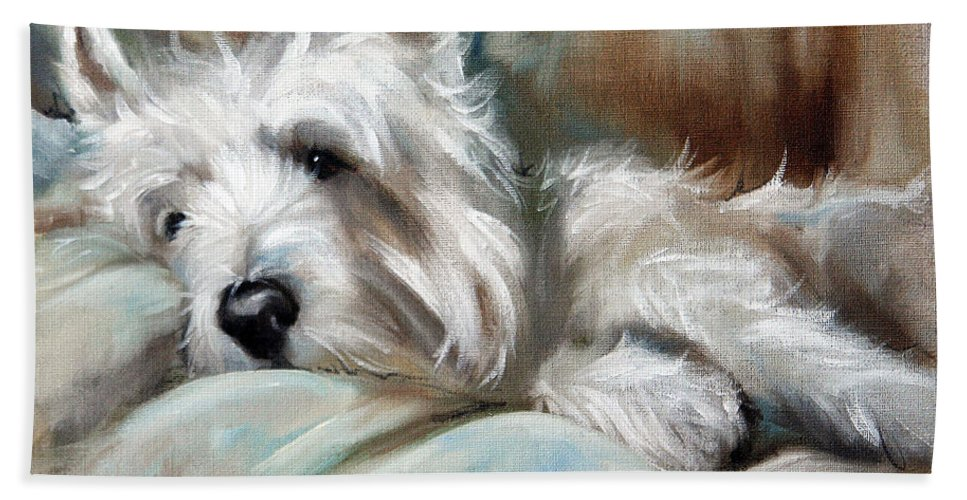 Art Bath Sheet featuring the painting Languor by Mary Sparrow