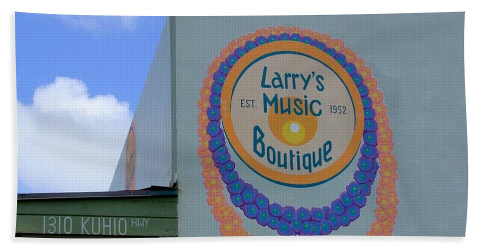 Mary Deal Bath Sheet featuring the photograph Larrys Music Boutique Est 1952 by Mary Deal