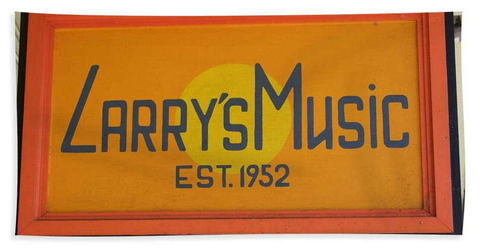Mary Deal Bath Sheet featuring the photograph Larrys Music Est 1952 by Mary Deal