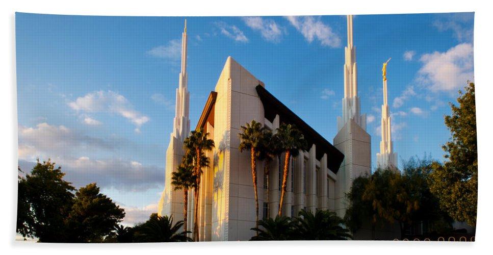 Las Vegas Temple Bath Sheet featuring the photograph Las Vegas Palms by La Rae Roberts