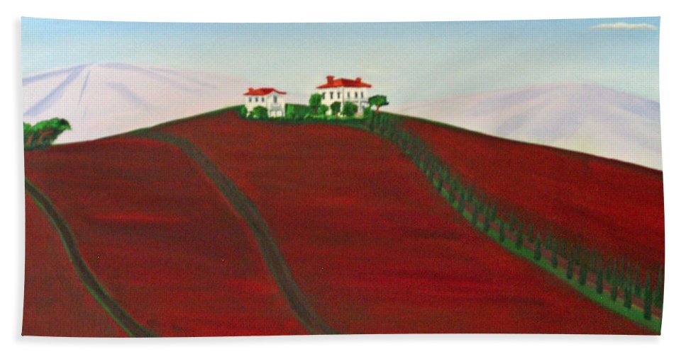 La Selva Heather Farm Hand Towel featuring the painting Laselva Heather Farm by Don Monahan