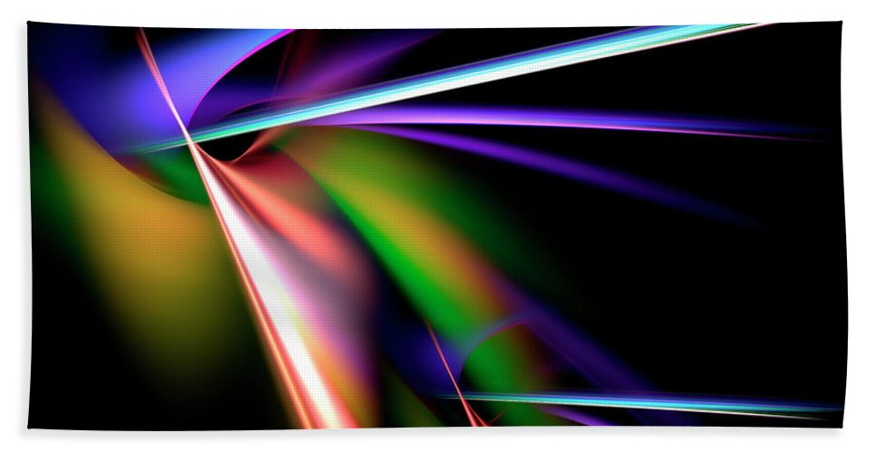 Abstract Bath Sheet featuring the digital art Laser Light Show by Carolyn Marshall