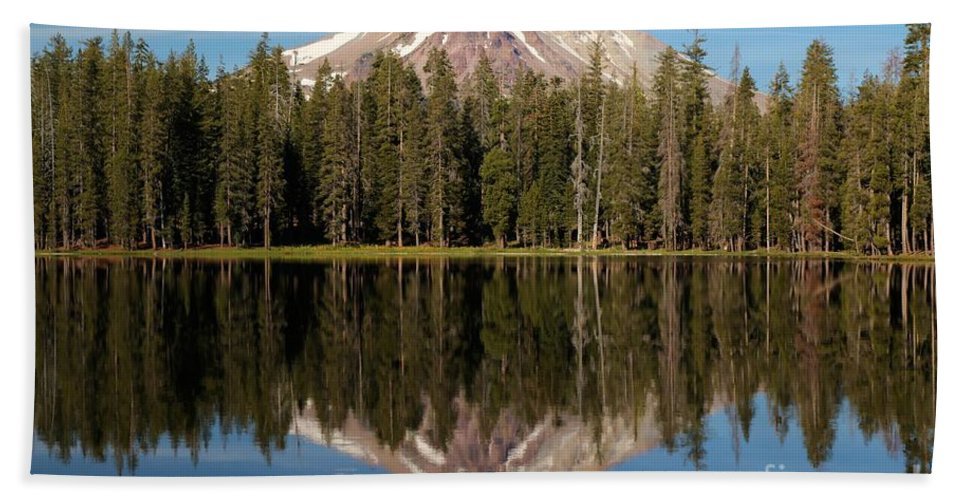 Summit Lake Bath Sheet featuring the photograph Lassen Peak Reflections by Adam Jewell