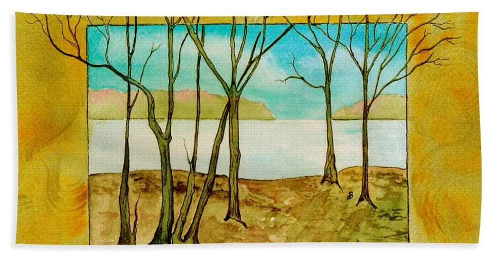 Landscape Bath Sheet featuring the painting Last Autumn Day by Brenda Owen