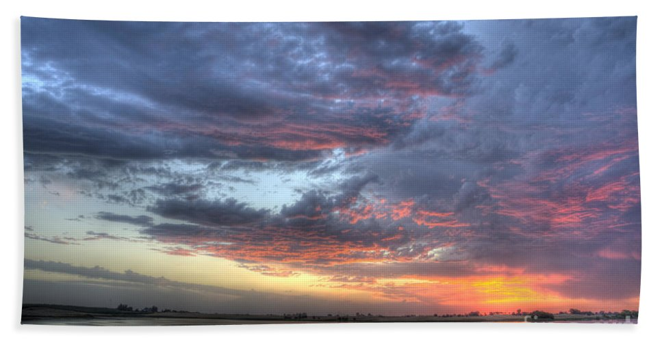 Sunset Hand Towel featuring the photograph Last Light Over The Lake by Jim And Emily Bush