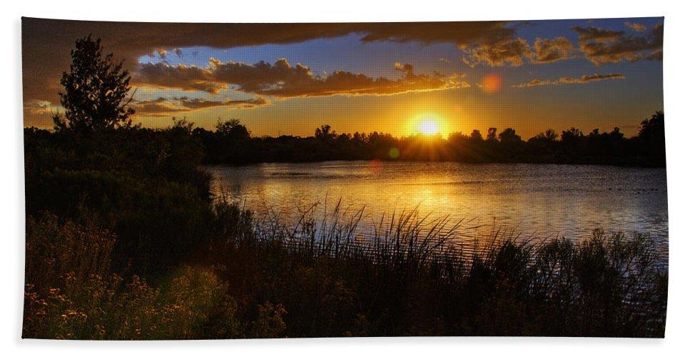 Sunset Bath Sheet featuring the photograph Last Light by Saija Lehtonen