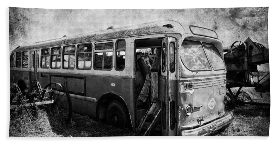 Bus Bath Sheet featuring the photograph Last Stop by The Artist Project