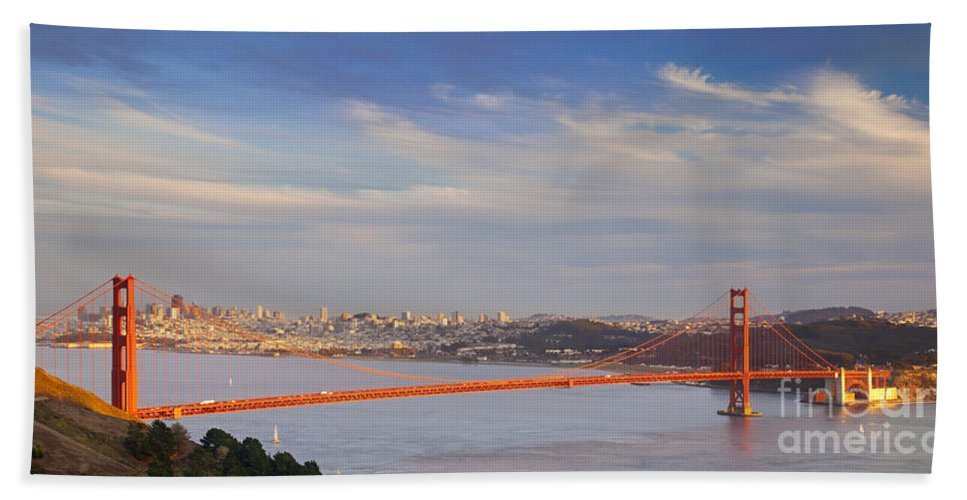 Golden Hand Towel featuring the photograph Late Evening Over San Francisco by Brian Jannsen