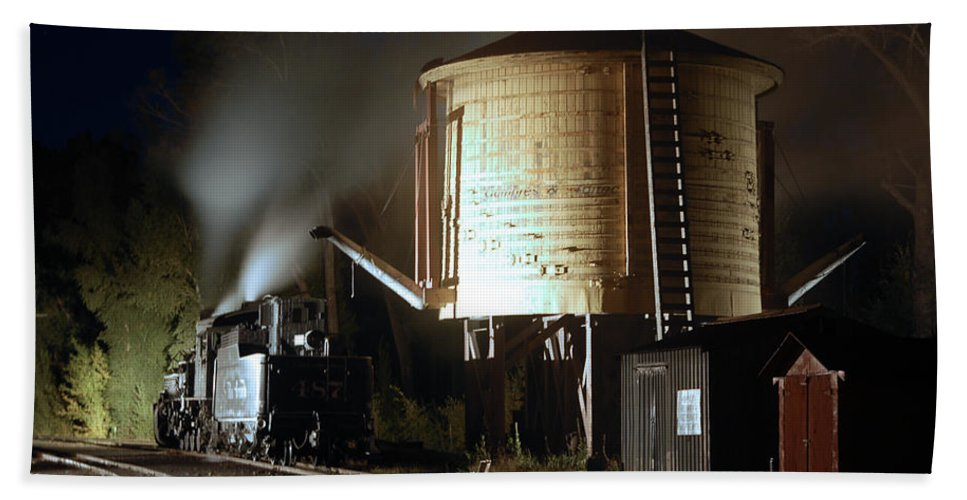Steam Train Photographs Hand Towel featuring the photograph Late Night Drink by Ken Smith