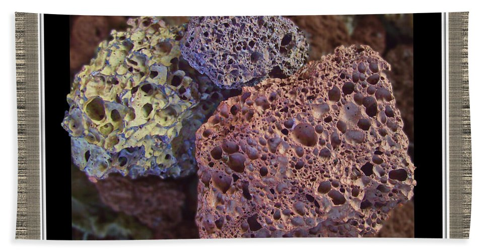 Still Life Bath Sheet featuring the photograph Lava Rocks by Debbie Portwood