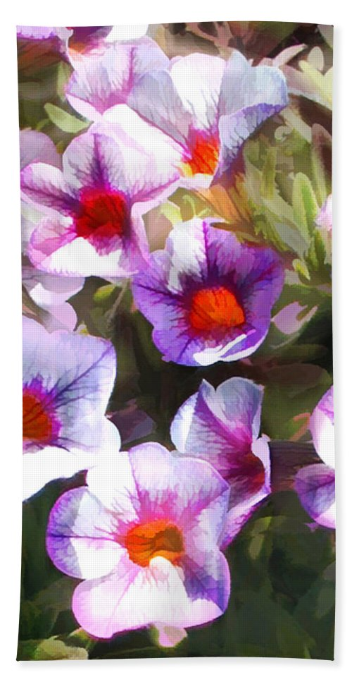 Petunia Hand Towel featuring the painting Lavender Million Bells Flowers by Elaine Plesser
