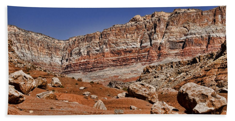 Landscape Hand Towel featuring the photograph Layered Cliffs by Jon Berghoff