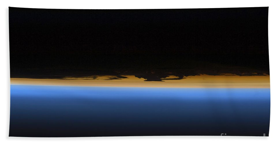 Sts-127 Bath Sheet featuring the photograph Layers Of Earths Atmosphere by Stocktrek Images