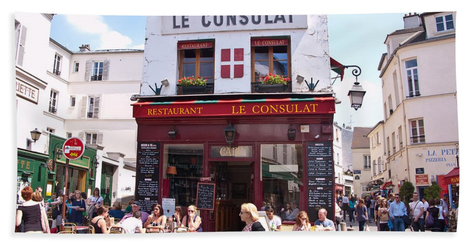 France Bath Sheet featuring the photograph Le Consulat Cafe by Jon Berghoff
