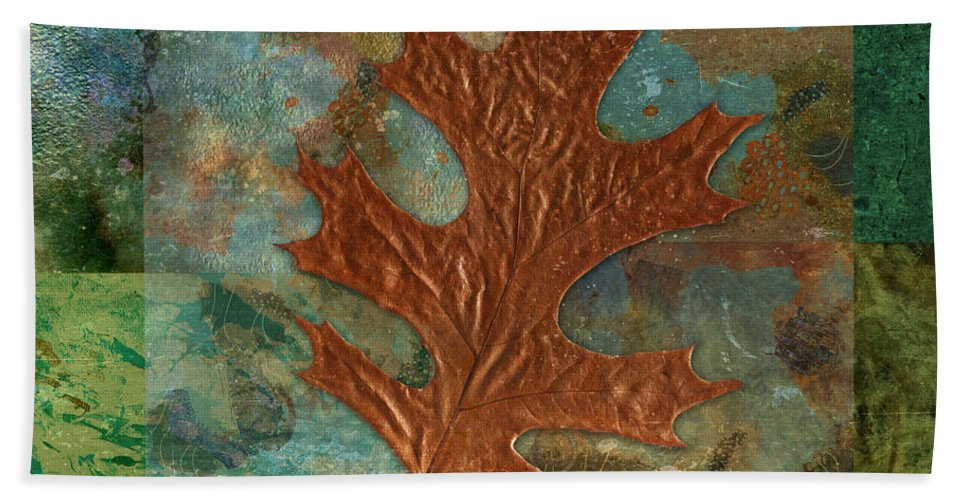 Leaf Bath Sheet featuring the digital art Leaf Life 01 - Green 01b2 by Variance Collections