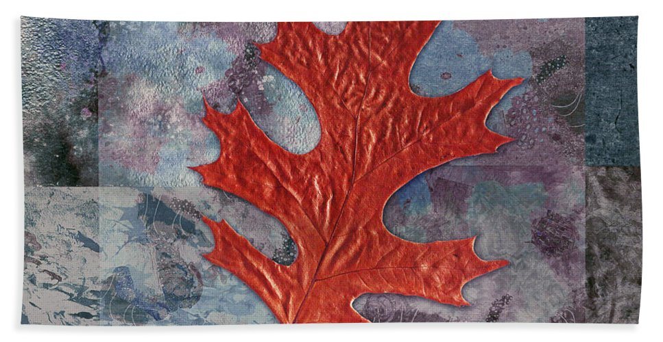 Leaf Bath Sheet featuring the digital art Leaf Life 01 - T01b by Variance Collections
