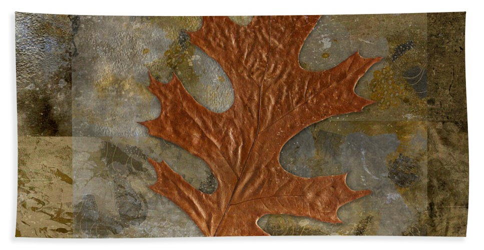 Bath Sheet featuring the digital art Leaf Life 01 -brown 01b2 by Variance Collections