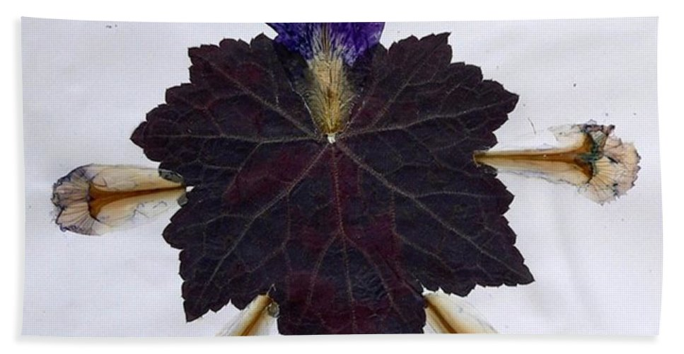 Leaf Pattern Bath Sheet featuring the mixed media Leaf With Petals by Basant Soni