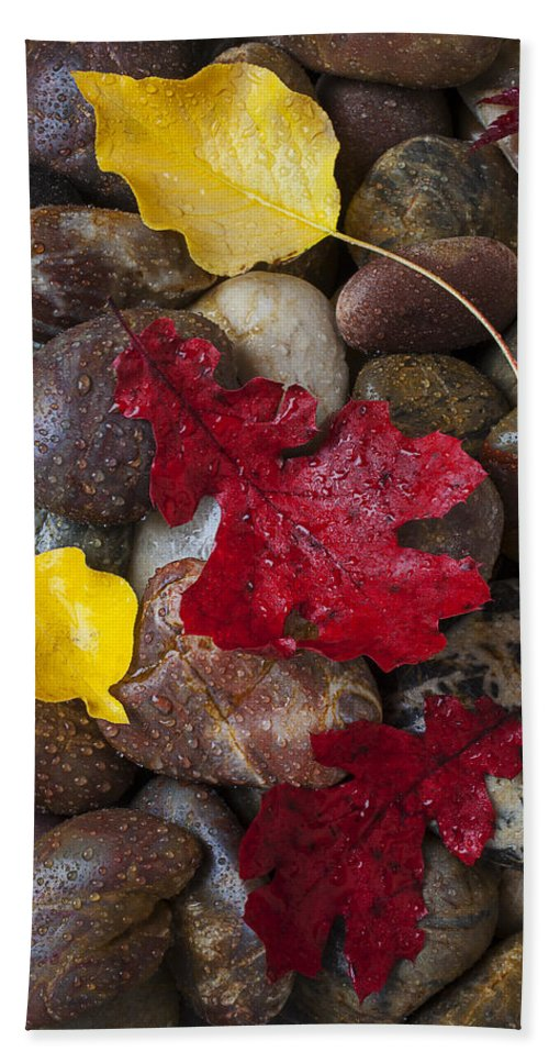 Red Bath Sheet featuring the photograph Leafs And Stones by Garry Gay