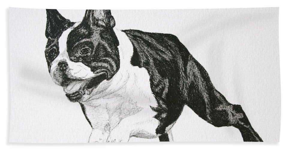 Boston Terrier Bath Sheet featuring the drawing Leap by Susan Herber