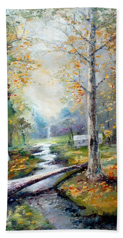 Australian Hand Towel featuring the painting Leaving The Woodland Creek by Giro Tavitian