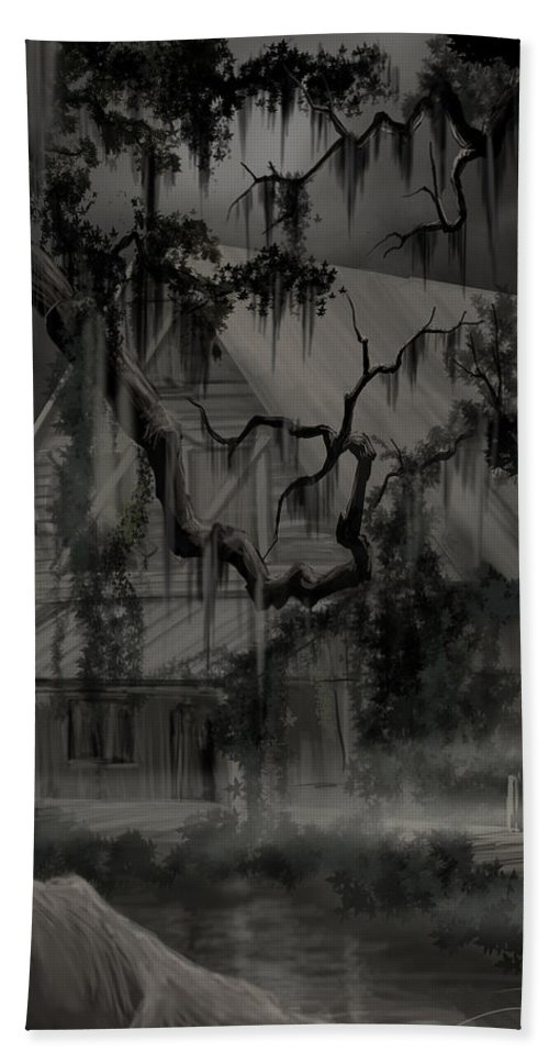 Old Woman Bath Towel featuring the painting Legend of the Old House in the Swamp by James Christopher Hill
