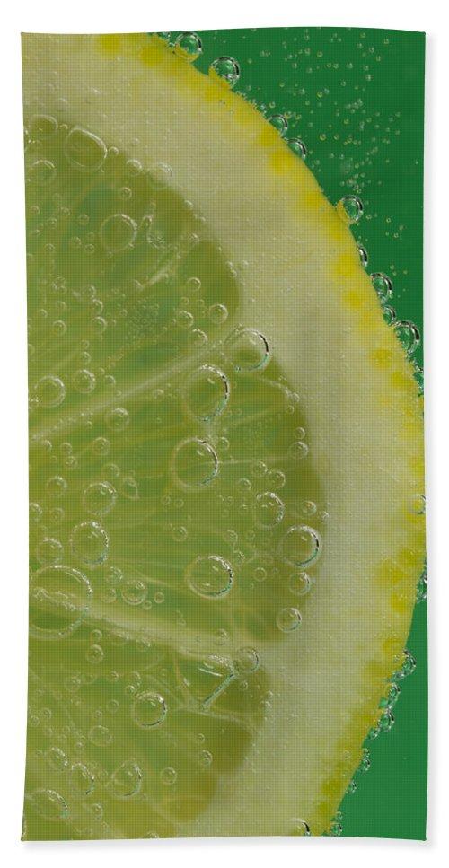 Lemon Bath Sheet featuring the photograph Lemon Slice Soda 1 by John Brueske