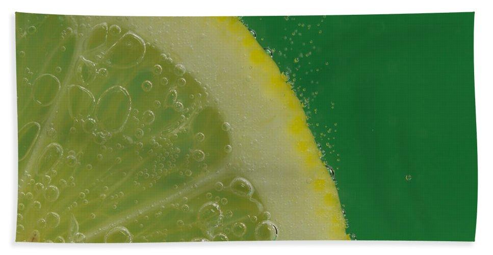 Lemon Bath Sheet featuring the photograph Lemon Slice Soda 2 by John Brueske