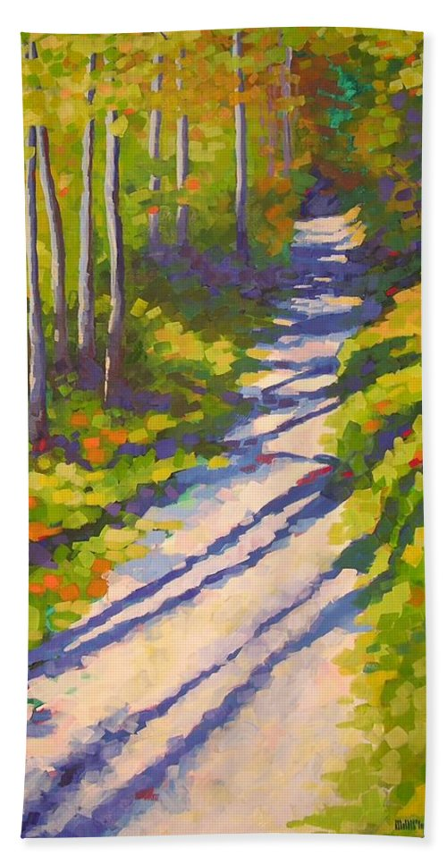 Landscape Bath Sheet featuring the painting Lena Lake Trail 3 by Mary McInnis