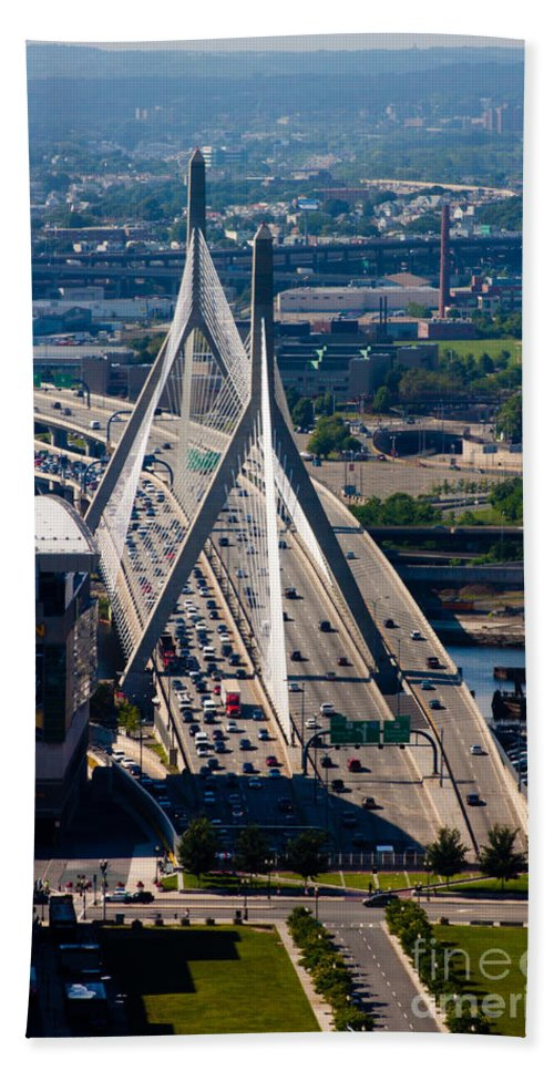Aerial Hand Towel featuring the photograph Leonard Yakim Bunker Hill Memorial Bridge by Thomas Marchessault