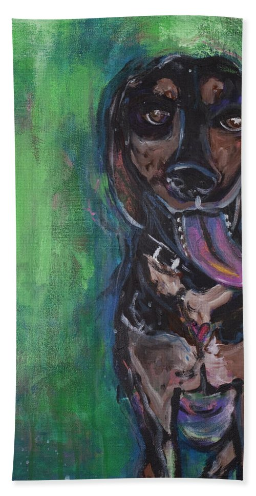 Dog Bath Sheet featuring the painting Leroy by Laurie Maves ART