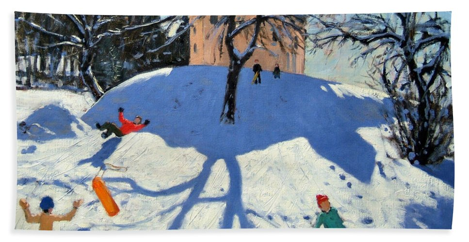 French Landscape Bath Sheet featuring the painting Les Gets by Andrew Macara