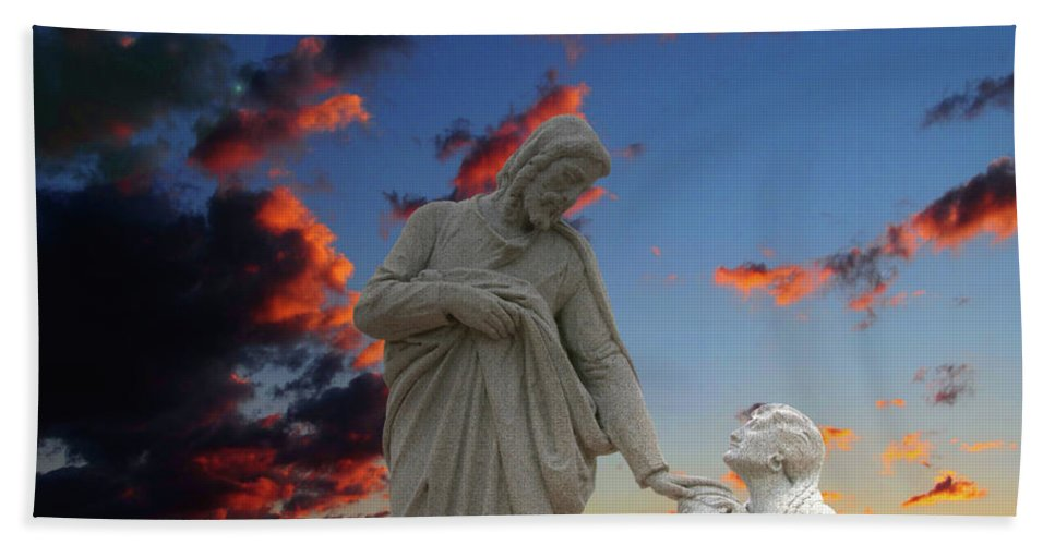Jesus Bath Sheet featuring the photograph Let The Little Ones by David Arment