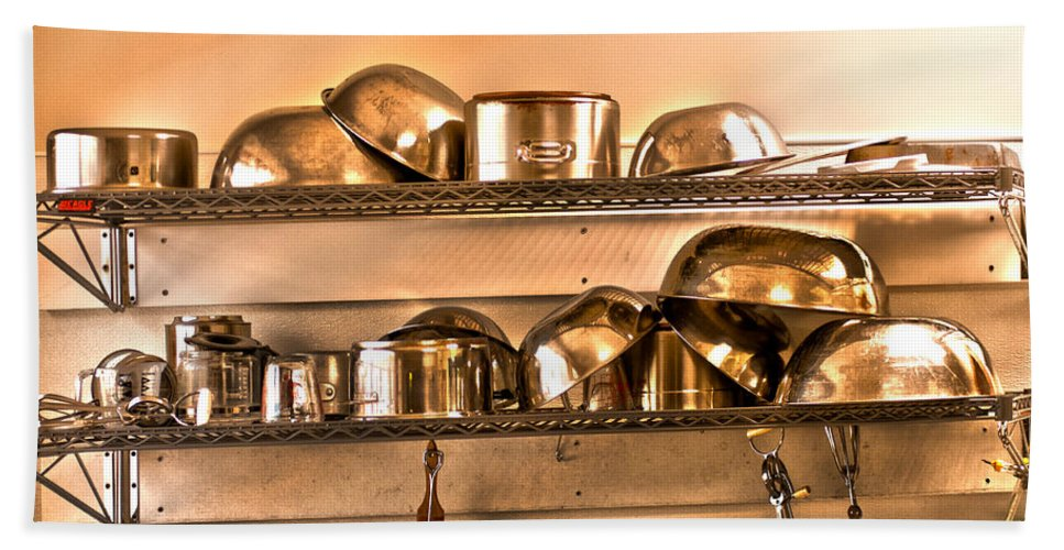 Stainless Steel Pots And Pans Hand Towel featuring the photograph Lets Cook Tonight by Randall Branham