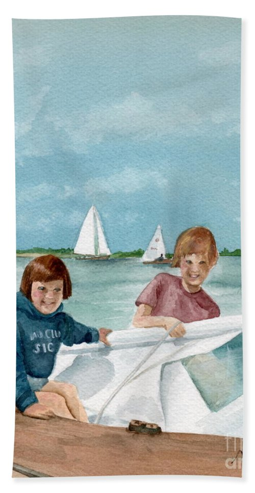 Sailing Hand Towel featuring the painting Let's Go Sailing by Nancy Patterson